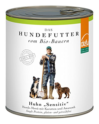 defu Bio Nassfutter für Hunde Huhn 820 g Gluten und Getreidefrei, 6er Pack (6 x 820 g)