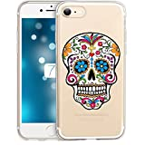 Coque Iphone 7 Plus Iphone 8 Plus Tete de Mort Mexicaine Calavera Fleur Transparente