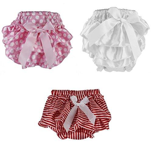 4dd8a4ab28377 MagiDeal 3 pièces Bébé Fille Mini Jupe Short Ondulation Nappy Cover  Bloomers Pettiskirt Vêtement Décor