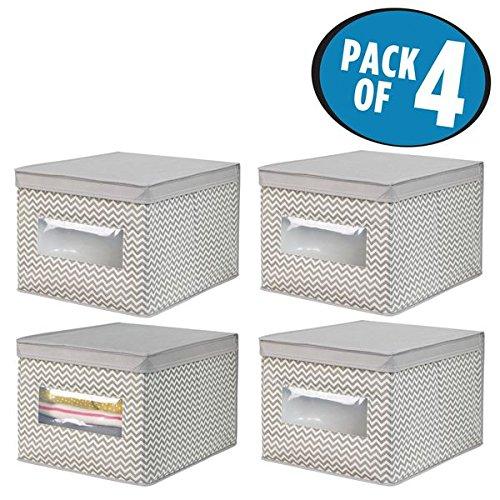 Mdesign set da 4 scatole per armadio in tessuto – scatola contenitore portabiancheria per vestiti, scarpe etc. – contenitore con coperchio in polipropilene con motivo a zigzag – talpa/naturale