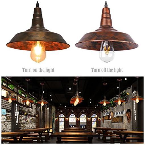 Sunsbell® industriale Retro Loft parete Coffee Bar Illuminazione Fixtrure Sconce sospensione Lampada da soffitto lampadari Shades per E27 Edison Bulbi (Brown, la lampadina non è inclusa)