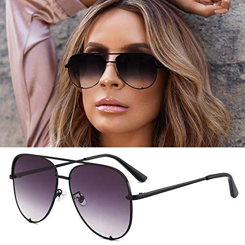 MoHHoM Sonnenbrille Neue Mode Sonnenbrille Frauen Übergroße Pilot Sonnenbrillen Für Frauen Luxus Schattierungen Neue Uv 400 Schwarz Grau