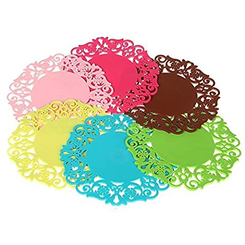 Daixers 6PCS Drink Coasters Fashionable And Lovely Hollow-Out Rose Flower Pattern,Essential Kitchen Cooking & Baking Gadget,Non Slip Heat Resistant Silicone Pot Holder/Hot