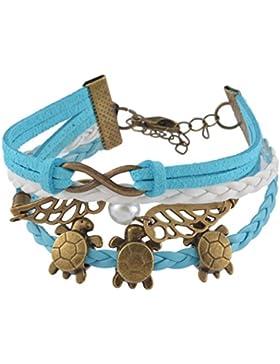 Souarts Blau Armband Unendlichkeit Flügel Schildkröte Handmade Lederarmband