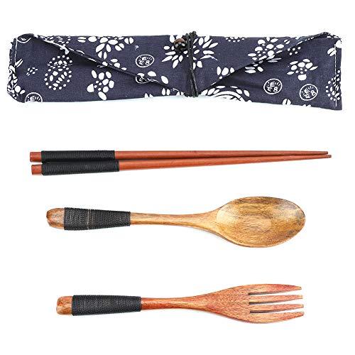Fdit 4Pcs Portable Holz Essstäbchen Gabel Löffel Set Geschirr Besteck Kit mit Tasche Picknick Reisen Camping Küche Werkzeug