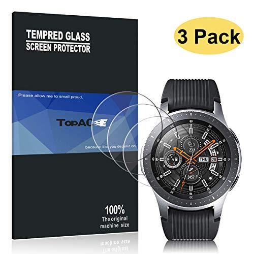 TopACE Protecteur écran pour Samsung Galaxy Watch 46 mm,[3 pièces] 9H Tempered Glass Film Protection Écran en Verre Trempé pour Galaxy Watch 46 mm