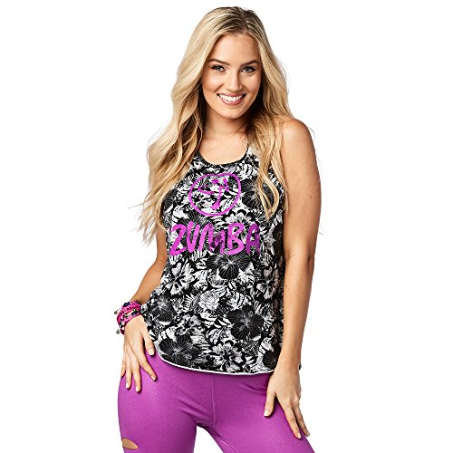 Zumba Fitness Damen La Pachanga High Neck Tank Fitness Tanktops Frauentops, Bold Black, M (High-neck Tank)