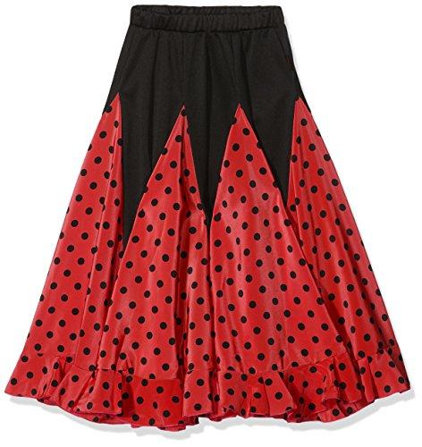 La Señorita Flamenco Rock Kinder Spanische Kleider rot mit schwarzen Punkten (rot schwarz, Größe 10, 128-134) (Flamenco Kostüm Kind)