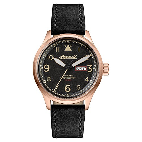 Ingersoll Men's The Bateman Quartz Watch withSchwarz Dial andSchwarz Leather Strap I01803