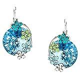 ❤Valentinstagsgeschenke❤ Ohrringe Kristall Strass Blume Platin Blau Neoglory Jewellery