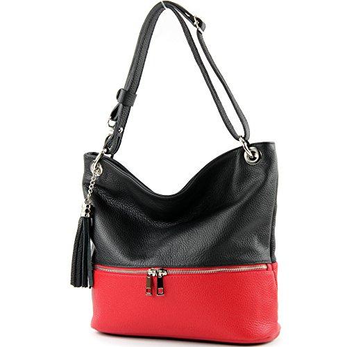 modamoda de - T143 - ital Schulter-/Umhängetasche aus Leder, Farbe:Schwarz/Rot - Rote Schulter-tasche Handtasche