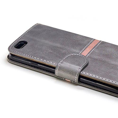 Custodia iPhone 6 Plus/iPhone 6s Plus(Slot per Schede), BasicStock Flip PU Pelle Portafoglio Notebook Case Pouch with Card Holder/Kickstand Magnetico Snap Cover Copertura(Grigio)