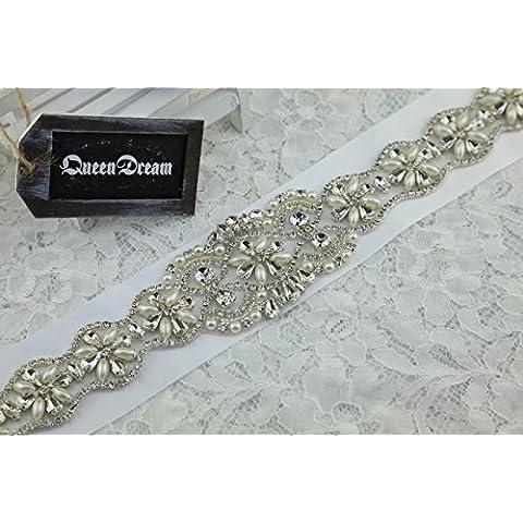 queendream cristal cuello Applique brillante Floral adornos correa de transmisión para vestido de novia diseño único Pinza para cinturón, diseño de brillantes, color blanco