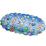 Lindou Rutschfeste Badematte PVC Oval Shell Cartoon mit Saugnapf Rutschfeste Matte Badematte Bodenmatte Seepferdchen Fisch für Zuhause