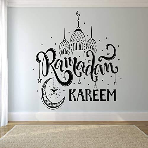 Wandtattoo Aufkleber Musselin Aufkleber Zitat Eid Murabak Ramadan Kareem Maske Islam Religion Wanddekor Spezielle Muster Aufkleber 57X69cm