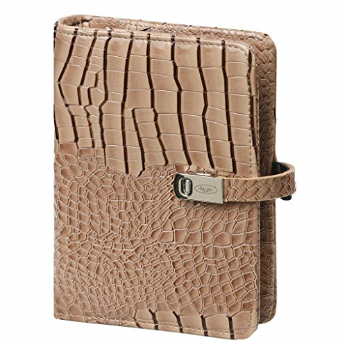 1401-63 Kalpa Mini Organiser with 2018 faux Leather 4 Card 2018 Organiser - Gloss Croco Taupe
