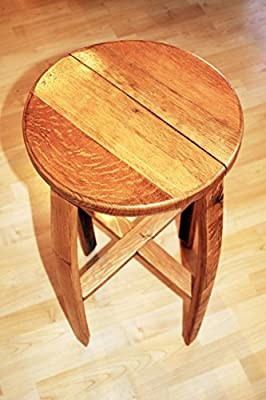 Oak bar/kitchen stool, made from reclaimed Scotch Whisky Barrel Staves