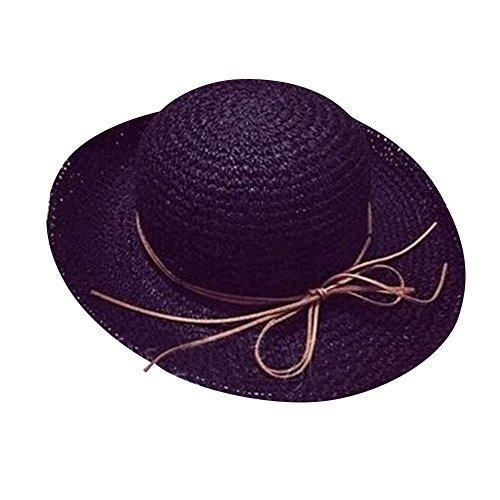 SHINA Femme chapeau de paille et de chapeau de plage mode par tisse manuel Noir