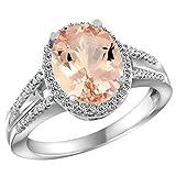 Revoni 14ct White Gold Natural Morganite Ring Oval 10x8mm Diamond Accent