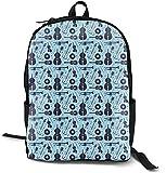 Guitar Pattern Blue School Bags Backpack Computer Laptop Bag, Durable Casual Book Bags Daypack for Women Men Boys Girls Kids Teens Students