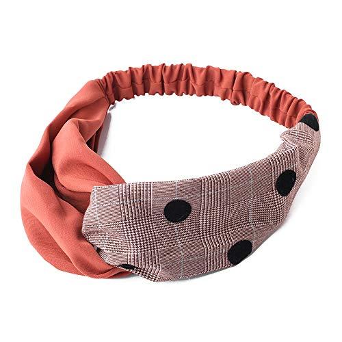 Yifuty Damen Haarband Fadenkreuz Haarband Spleißen Farbe Haarband Haarband mit breiter Krempe Stirnband Gesicht Einfaches Haarband (Color : Brick red) -