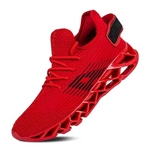 Mabove Laufschuhe Herren Damen Turnschuhe Sportschuhe Straßenlaufschuhe Sneaker Atmungsaktiv Trainer für Running Fitness Gym Outdoor(Rot/Dh66,42 EU) (Herren Fashion Schuhe Rot)