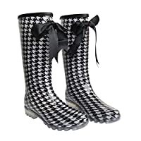 Womens Tall Rain Wellingtons Boots with Bow,Ladies Knee High Flat Festival Wellies Waterproof Rubber Rain Boots