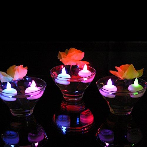 12 flotante LED de color cambiar la batería de té luces - velas impermeables luz de humor de mesa por PK Green