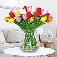 Amkun, 10 tulipani finti in poliuretano, realistici, per casa, cucina, salotto, sala da pranzo, matrimonio, decorazione, centrotavola Red