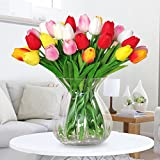 Amkun 10pcs Realistic PU Artificial Holland Tulip Flowers Life-like Faux Bouquet Arrangements for Home Kitchen Living Room Dining Table Wedding Centerpieces Decorations (Red)