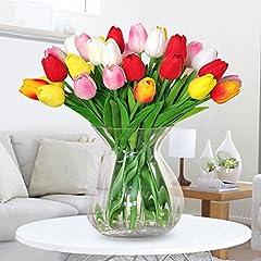 Idea Regalo - Amkun, 10 tulipani finti in poliuretano, realistici, per casa, cucina, salotto, sala da pranzo, matrimonio, decorazione, centrotavola Red