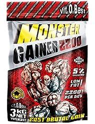 Vit-O-Best Monster Gainer 2200, Suplementos Alimentarios para Deportistas, Sabor a Fresa - 3000 gr