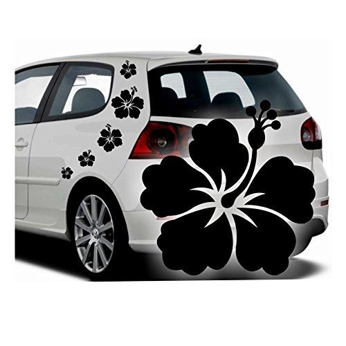Folistick Hibiskus Hawaii Blumen Aufkleber Set Hibiskusblüten Autoaufkleber 5-teilig (SCHWARZMATT)