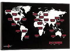 Idea Regalo - Grande Orologio Led Rosso Mondiale Da Parete - 24 Orari Nel Mondo - Adatto per negozi, uffici, locali