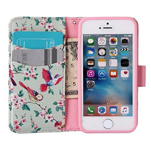 Custodia iPhone SE, Custodia iPhone 5S a portafoglio, Tebeyy Premium, motivo Fiore/Animale/ Personaggi, in pelle PU [chiusura magnetica] con fessura per carte per Apple Iphone SE/5S/5, Cavalletto, Por Bird and Floral