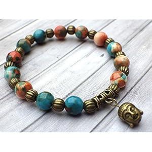 Tibetischen Stil Vintage-Armband Perlen natürliche weiße Jade getönt braun, orange und blau, metall Perlen und Amulette in Form von Buddha Kopf antiker Bronze