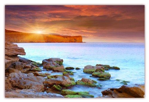 XXL Poster 100 x 70cm (F-215) Meereslandschaft mit Steilküste und Sonnenschein - Steine am Strand (Lieferung gerollt!) (Horizont, Abbildung)