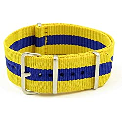 StrapsCo 16mm Yellow / Blue 3-Ring G10 Ballistic Nylon Nato Zulu Watch Strap