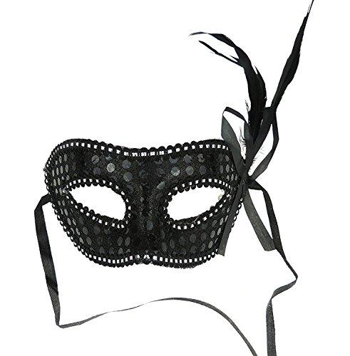 Venezianische Maske Masquerade Feder für Partys und Bälle schwarz (Masquerade Venezianischen Masken)