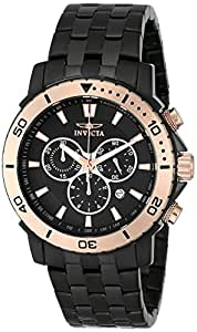 Invicta Men's 45mm Black Steel Bracelet IP Steel Case Flame-Fusion Crystal Swiss Quartz Watch 6791