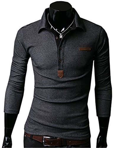 COCO clothing Herren Herbst Kentkragen Freizeit Poloshirt Lange Ärmel Sweatshirt Männer Einfarbig Slim Fit Pullover Stretch Stricken T-shirt (M, Dunkelgrau) (Grau Polo-t-shirt Stricken)