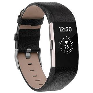 Fitbit Charge 2 Armband , ANGGO Fitbit Charge 2 Ersatz Lederbänder Sport Band Uhrenarmband Lederarmband Erstatzband Armbänd Für Fitbit Charge 2 Unisex Armband (Schwarz)