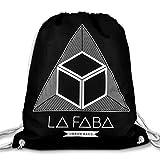 LA FABA schwarzer Turnbeutel aus Baumwolle bedruckt mit Siebdruck, Stofftasche Rucksack Sportbeutel Beutel Jutebeutel Stofftbeutel Gymsack Gym Bag Umhängetasche