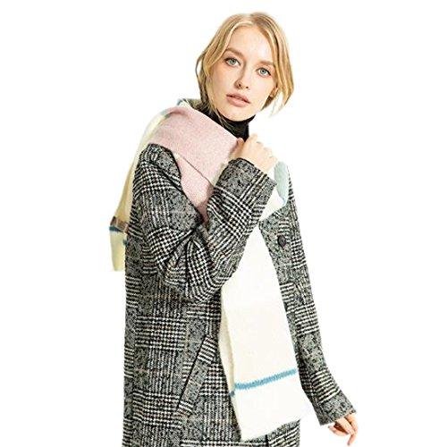 Yue Lian Frauen Wärme Schals Winter Stricken Streifen Halstuch buchstabieren Farben Scarf Scarves Schal in Zwei Farben(Beige) (Streifen-schal Stricken)