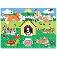 Melissa & Doug 19053 - Puzzle En Bois À Boutons - Animaux Domestiques