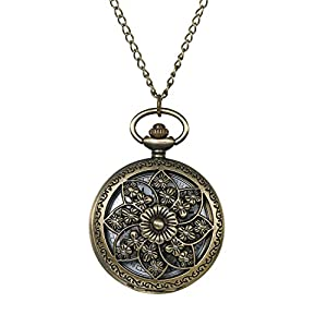 Avaner Taschenuhr für Damen Herren, Analog Quarzwerk mit Kette Steampunk Schmetterling Blumen Bronze, Vintage Pocket Watch for Men Women