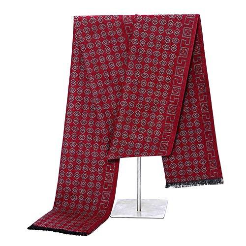 SonMo Die Seide Herren Herbstschal Winterschal Männer Schal Tuch Warm Vintage Gebürstet Deckenschal für Jeden Alters Rot 180×31CM