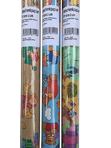 3x Geschenkpapier Kinder. Geschenkpapier Rollen für Mädchen und Jungen. Reißfestes Premium Kraftpapier. Green Paper Geschenkpapier Geburtstag