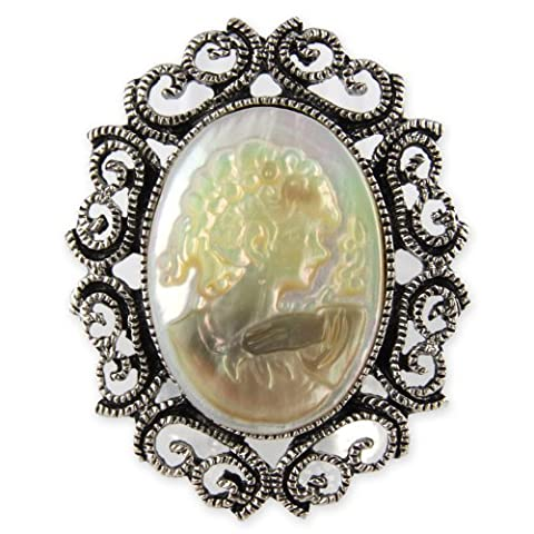 Mother Of Pearl Cameo Inlay - Oval Filigree Detail - Adjustable Ring - Butter Yellow Ivory White Mix Shade