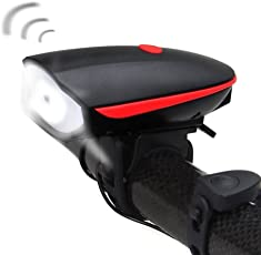 FurMito USB Waterproof Bike Light and Bicycle Horns with 120 DB Bright Headlight 1200mAh Lithium Ion Battery,3 Lighting Modes,5 Horn Sounds (Black)